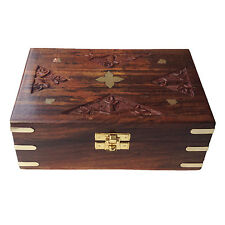 Exclusive Hand Carving Velvet Inside Rectangle Wooden Storage Box
