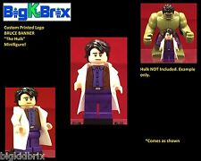 BRUCE BANNER The Hulk Custom Printed Lego Minifigure Marvel NO Decals Used!