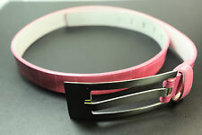 LADIES SNAKE SKIN LOOK PINK BELT WITH LONG STRETCHED SILVER BUCKLE STUNNING(UW4)