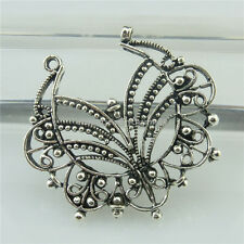 18665 8pcs Vintage Silver Alloy Carve Hollow Leaves Pendant Connector Filigree