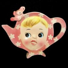 Vintage Napco Miss CUTIE PIE TEA BAG Holder in Pink
