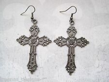 *LARGE GUNMETAL BLACK CROSS* Gothic Earrings Dita Madonna HALLOWEEN FANCY DRESS