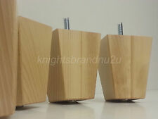 4x WOODEN BLOCK FURNITURE LEGS FEET FOR SOFAS, SETTEES, CHAIRS & FOOTSTOOLS M8