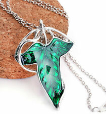 Charm Retro Lord of The Ring Green Leaf Elven Brooch Pendant Chain Necklace CX50