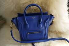 Celine NANO luggage Royal Blue Smooth leather Gold HW