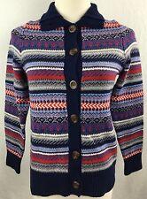 LL Bean Nordic Ski Sweater Merino Wool Blue Button Down High Neck Fair Isle XS