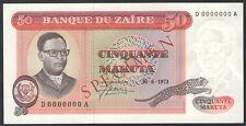 ZAIRE - 50 MAKUTA 1973 - SPECIMEN Banknote Note - P 16a P16a (AU-UNC)