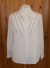 JACQUES VERT cream pewter silver embroidered long sleeve blouse shirt top 14 42