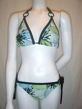 MOSSIMO Women's Turquoise Green White Floral Bikini Swimsuit Bra sz. L used