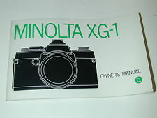 NOTICE MINOLTA XG-1 en ANGLAIS  photo photographie