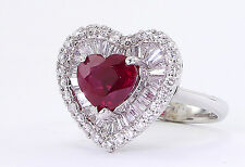 2.57 CT Heart Shaped GIA Burmese Ruby & 2CT Diamonds 18K White Gold Ring