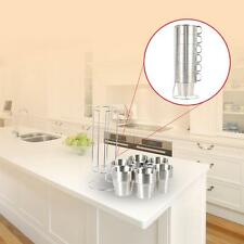 6PCS Double-layer Stainless Steel Coffee Tea Cup Mug Set With Storage Shelf K0Q9
