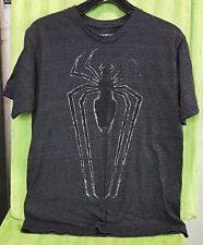 Marvel Mad Engine Spiderman Spider Chest Logo Distressed Black Gray T Shirt M