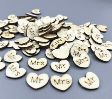 DIY 100X Wooden Heart Mr Mrs Lettering Scrapbooking  stochastic Mix Crafts 15mm