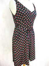 Alannah Hill Sz 12 Black red heart silk cocktail party designer dress