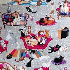By The 1/2 Yard Benartex Cotton Quilting Fabric, Cat Lounge, Kitty Galore, Cats