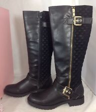 NEW PENNY KENNY Faux Suede Leather Boots Size 6 Long Zip Quilted Black Shoes