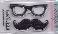 Bigote y gafas-Hot Off The Press (HOTP) - mini transparente conjunto de sello