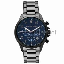 Michael Kors Original MK8443 Men's Gage Gunmetal Blue Dial Chrono Watch 45mm