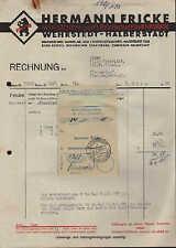 WEHRSTEDT-HALBERSTADT, Rechnung 1939, Würstchen-Fabrik H. Fricke