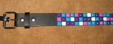 Purple, Pink, Blue & White 3 Rows Studs Spikes Genuine Leather Size 36 Body Rage
