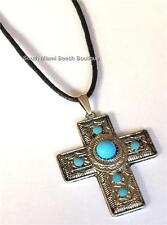 Silver Plated Cross Necklace Pendant Southwestern Black Cord Turquoise USASeller