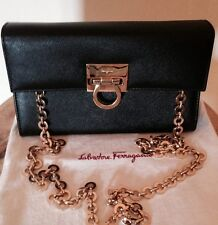 NEW SALVATORE FERRAGAMO GANCINI SAFFIANO CLUTCH CONVERTIBLE BAG PURSE BLACK