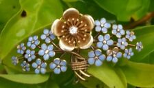 Antique 14k Yellow Gold Diamond Enamel Flower Forget Me Not  Brooch Estate