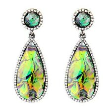 Rainbow Multi Color Faceted Tear Drop Gem Stone Crystal Dangle Earrings Jewelry