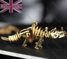 BIG 8cm DINOSAUR SKELETON pendant LONG NECKLACE skull GOLD PLATED gothic fashion