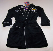Collingwood Magpies AFL Boys Black Fleece Dressing Gown Size 4 New
