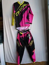 ONEAL Womens motocross combo set ; pants Size 5/6 ,Jersey LARGE  blk/pnk