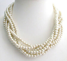 Twisted Pearl 6 Strand Ivory Wedding Pearl Statement Bridal Necklace