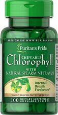 Chlorophyll with Natural Spearmint Flavor 100 Tablets Chewable breath freshner
