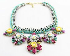 Mint Chunky Crystal Bib Flower Pendant Choker Statement Women's Necklace
