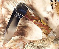 #2524PCS REDRUMMD CUSTOM BUCK 110 KNIFE WITH MOROCCAN AGATE SLAB SCALES