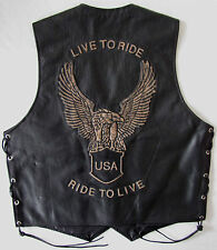 Live To Ride Motorcycle Motorbike Biker Distressed Leather Waistcoat Vest XL 42""
