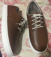 Crocs Mens Citilane Leather Lace Up Mens Shoes Size 9 Tan White