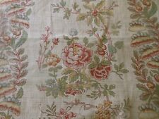 Antique French Linen Water Lily Peony Floral Fabric~Red Pink Mustard Moss Straw