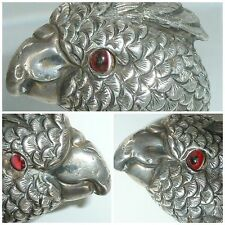 Edwardian Silver Parrot Bird Head Walking Stick Cane Parasol Handle