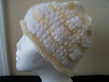 Hand knitted beautiful lace pattern beanie/hat, white / cream