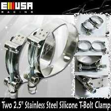 """2x2.5"""" Stainless Steel T-Bolt Clamps Silicone Coupler Intercooler Turbo Intake"""
