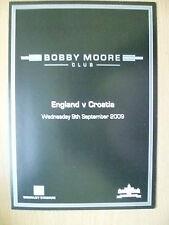 2009 BOBBY MOORE Club Menu- ENGLAND v CROATIA, 9 Sept 2009 (Org, Exc*)