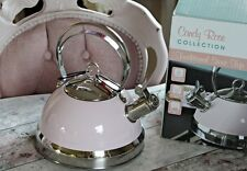 NEW! Retro Pastel PINK Candy Rose Stove Kettle Silver Stainless Steel