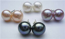 4Pairs 7-8mm Cultured Pearl Silver Stud Earrings AAA Grade