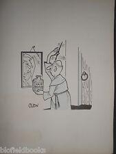"CLIFFORD C LEWIS ""CLEW"" Original Pen & Ink Cartoon - Monk Hair Restorer #312"