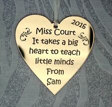 Personalised Teachers Gold Mirror Heart Thank you Gift Decoration