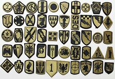 50 US Army Unit Insignia Shoulder & Sleeve Military Patches Hook Back - Lot #652