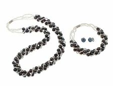 Natural Black Freshwater Pearl Necklace, Bracelet and Earrings Jewellery Set