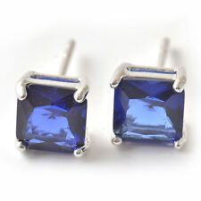 Silver Jewelry White Gold Filled Womens Mens Blue Crystal Square Stud Earrings
